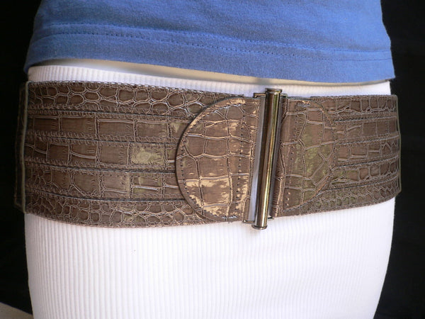 Dark Gray Faux Leather Crocodile Stamp Wide Belt Big Pewter Buckle New Women XXS-M - alwaystyle4you - 10