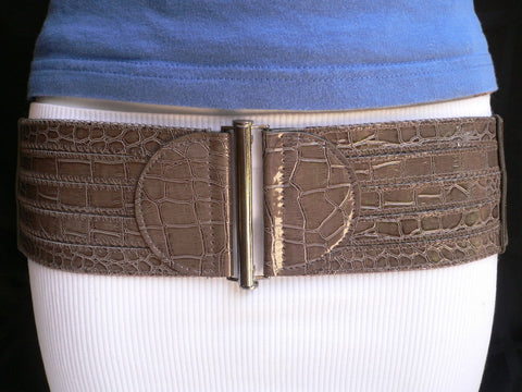 Dark Gray Faux Leather Crocodile Stamp Wide Belt Big Pewter Buckle New Women XXS-M - alwaystyle4you - 1