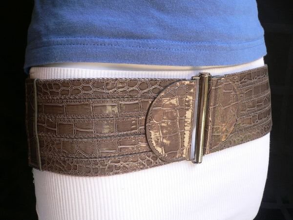 Dark Gray Faux Leather Crocodile Stamp Wide Belt Big Pewter Buckle New Women XXS-M - alwaystyle4you - 2