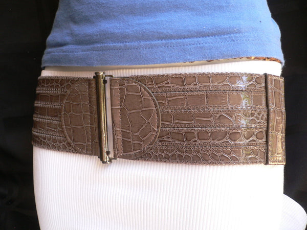 Dark Gray Faux Leather Crocodile Stamp Wide Belt Big Pewter Buckle New Women XXS-M - alwaystyle4you - 4