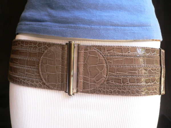 Dark Gray Faux Leather Crocodile Stamp Wide Belt Big Pewter Buckle New Women XXS-M - alwaystyle4you - 7