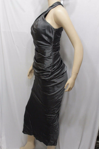 Dark Gray Long Slit Dress Solid Cocktail Silk One Shoulder Women New Vera Wang Fashion Size 4