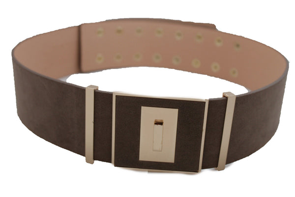 Faux Suede Leather Wide Belt Gold Metal Square Buckle Multi Rivet Pins New Women Accessories S M