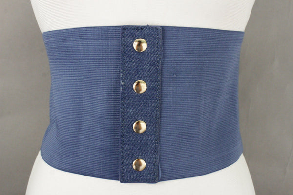 Denim Blue Black Wide Stretch Fabric High Waist Corset Belt New Women Accessories  S M