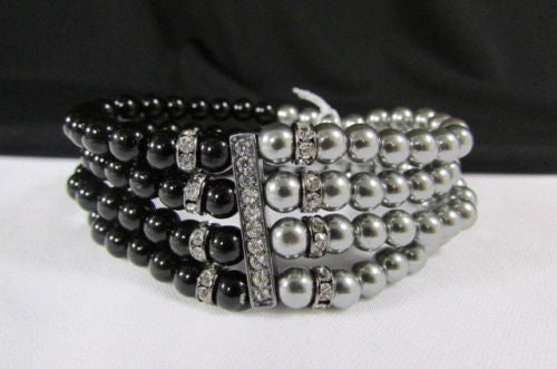 Black Cream / Pewter Black Imitation Pearl Beads Elastic Bracelet New Women Fashion Jewelry Accessories - alwaystyle4you - 14