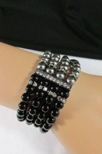 Black Cream / Pewter Black Imitation Pearl Beads Elastic Bracelet New Women Fashion Jewelry Accessories - alwaystyle4you - 21