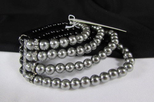 Black Cream / Pewter Black Imitation Pearl Beads Elastic Bracelet New Women Fashion Jewelry Accessories - alwaystyle4you - 23