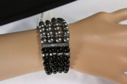Black Cream / Pewter Black Imitation Pearl Beads Elastic Bracelet New Women Fashion Jewelry Accessories - alwaystyle4you - 4