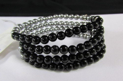 Black Cream / Pewter Black Imitation Pearl Beads Elastic Bracelet New Women Fashion Jewelry Accessories - alwaystyle4you - 6
