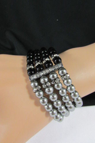 Black Cream / Pewter Black Imitation Pearl Beads Elastic Bracelet New Women Fashion Jewelry Accessories - alwaystyle4you - 10