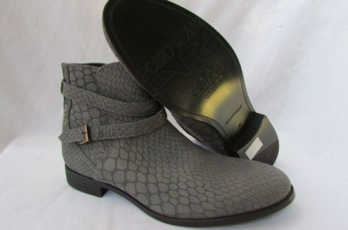 Gray Leather Crocodile Stamp Fashion Shoes Boots Emporio Armani Men Size 12 $830