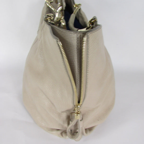 Escada Beige Leather Large Tote Shoulder Bag Purse Hobo Handbag Gold Hardwear