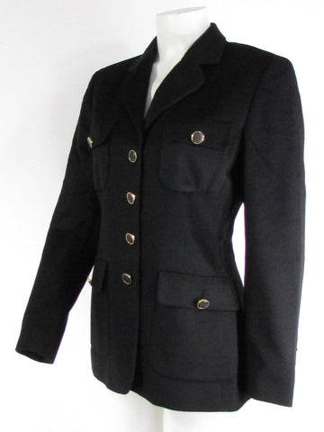 Black Angora Wool Classic Four Buttons Long Jacket Coat Escada Women New Fashion Size 36/ US 2