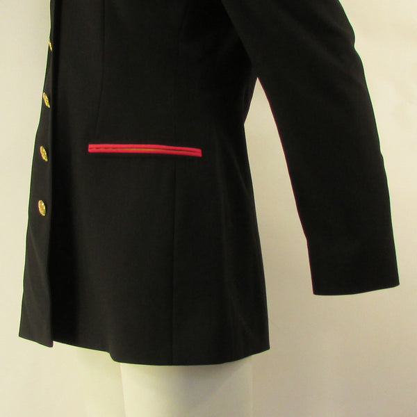 Black Wool 5 Buttons Colorful Long Jacket Skirt Pants Suit Escada Women Fashion Size American 2/36