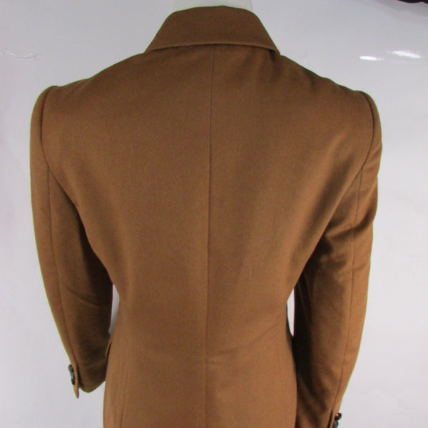 Camel Light Brown Rabbit Angora Wool Long Jacket Coat Escada Women Size American 2 Italian 36