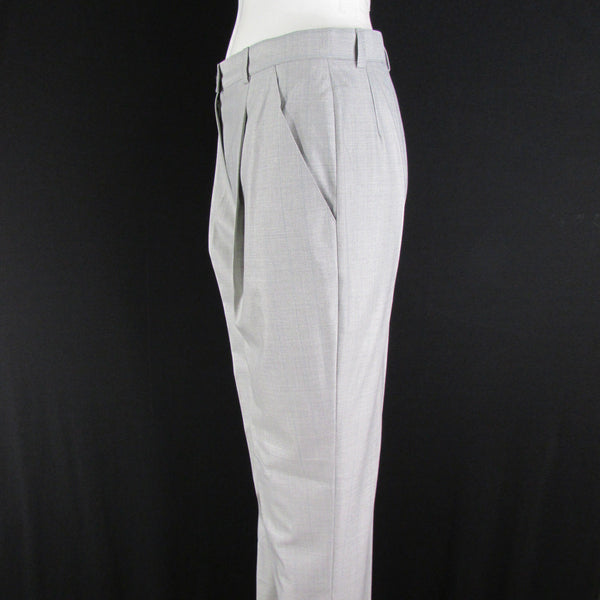 Light Gray Silk Wool Classic Plaited Dress Trousers Pants Escada Women 36 / US 2