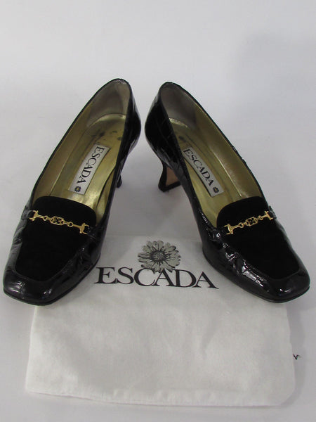 Escada Low Heel Shoes Black Suede Top Leather Crocodile Stamp New Women Fashion Accessories