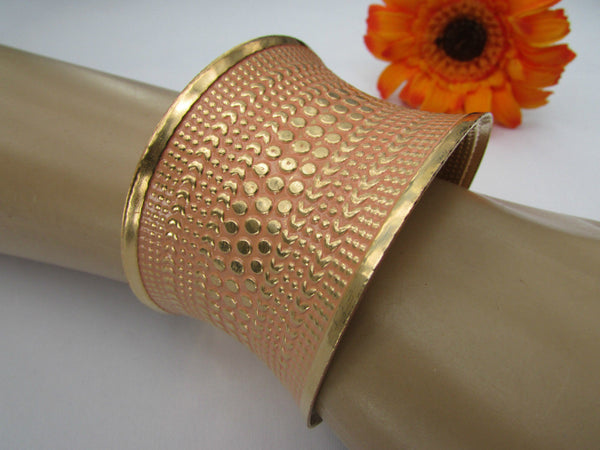Gold Metal Cuff Wide Bracelet Pink Polka Dot Peach Colored Pattern New Women Fashion Jewelry Accessories - alwaystyle4you - 2
