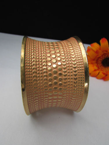 Gold Metal Cuff Wide Bracelet Pink Polka Dot Peach Colored Pattern New Women Fashion Jewelry Accessories - alwaystyle4you - 4