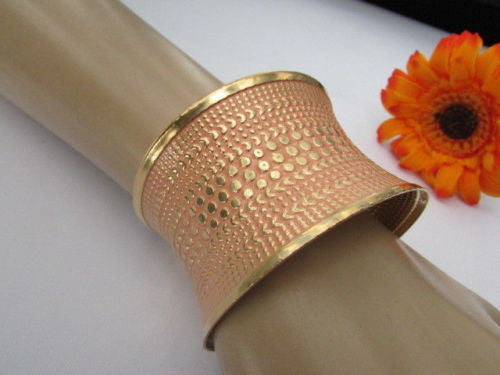 Gold Metal Cuff Wide Bracelet Pink Polka Dot Peach Colored Pattern New Women Fashion Jewelry Accessories - alwaystyle4you - 5