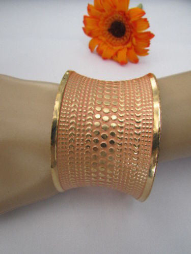Gold Metal Cuff Wide Bracelet Pink Polka Dot Peach Colored Pattern New Women Fashion Jewelry Accessories - alwaystyle4you - 7