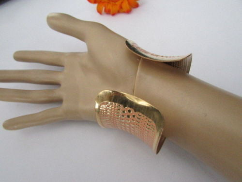 Gold Metal Cuff Wide Bracelet Pink Polka Dot Peach Colored Pattern New Women Fashion Jewelry Accessories - alwaystyle4you - 9