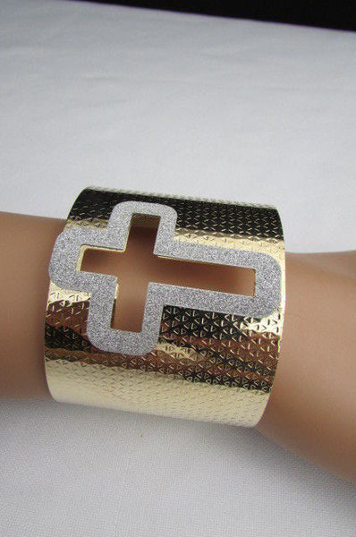Gold Silver Metal Cuff Bracelet Cut Out Big Sparkling Big Cross Fashion New Women Jewelry Accessories - alwaystyle4you - 4