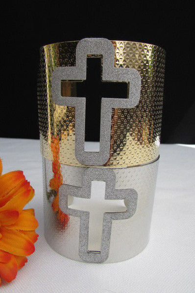 Gold Silver Metal Cuff Bracelet Cut Out Big Sparkling Big Cross Fashion New Women Jewelry Accessories - alwaystyle4you - 1