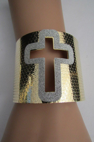 Gold Silver Metal Cuff Bracelet Cut Out Big Sparkling Big Cross Fashion New Women Jewelry Accessories - alwaystyle4you - 6