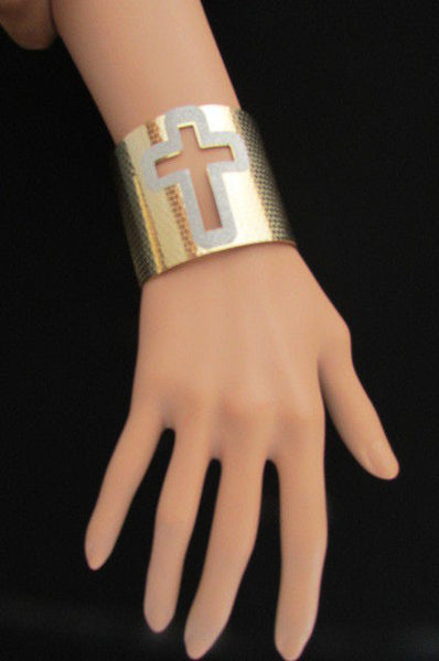 Gold Silver Metal Cuff Bracelet Cut Out Big Sparkling Big Cross Fashion New Women Jewelry Accessories - alwaystyle4you - 7