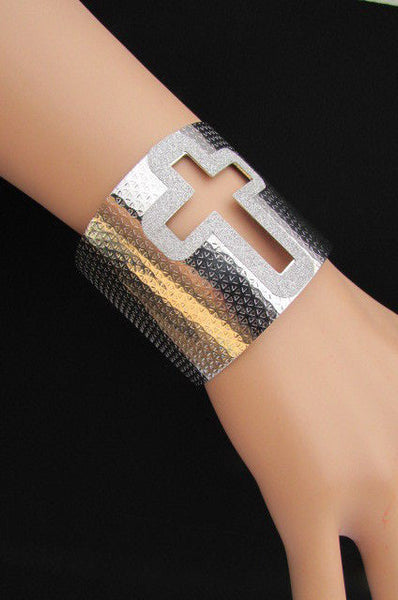 Gold Silver Metal Cuff Bracelet Cut Out Big Sparkling Big Cross Fashion New Women Jewelry Accessories - alwaystyle4you - 18
