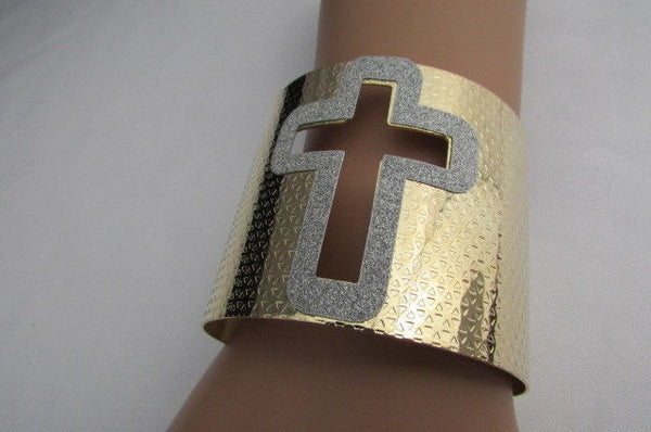 Gold Silver Metal Cuff Bracelet Cut Out Big Sparkling Big Cross Fashion New Women Jewelry Accessories - alwaystyle4you - 8