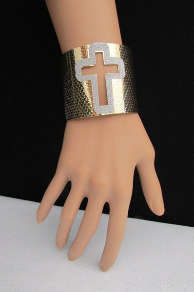 Gold Silver Metal Cuff Bracelet Cut Out Big Sparkling Big Cross Fashion New Women Jewelry Accessories - alwaystyle4you - 12