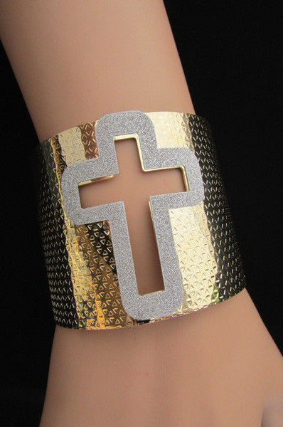 Gold Silver Metal Cuff Bracelet Cut Out Big Sparkling Big Cross Fashion New Women Jewelry Accessories - alwaystyle4you - 13