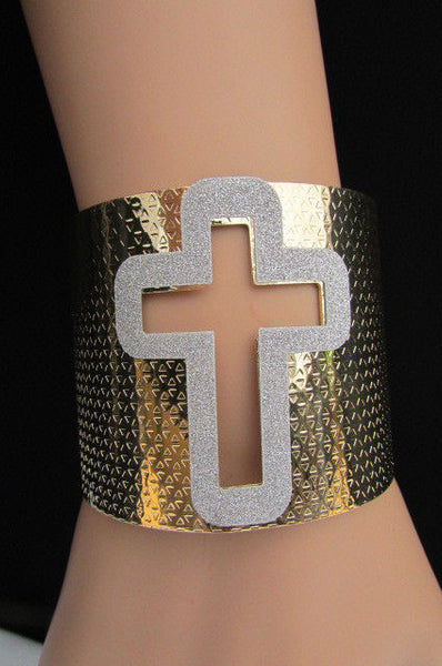Gold Silver Metal Cuff Bracelet Cut Out Big Sparkling Big Cross Fashion New Women Jewelry Accessories - alwaystyle4you - 14