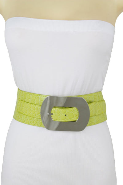 Fashion New Women Bright Green Apple Stretch Belt Elastic Wide  Silver Metal Oval Buckle Size M L