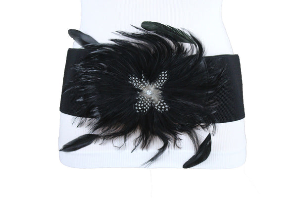 6 Colors Elastic Stretch Belt Big Feathers Flower Buckle New Women Accessories Plus Size