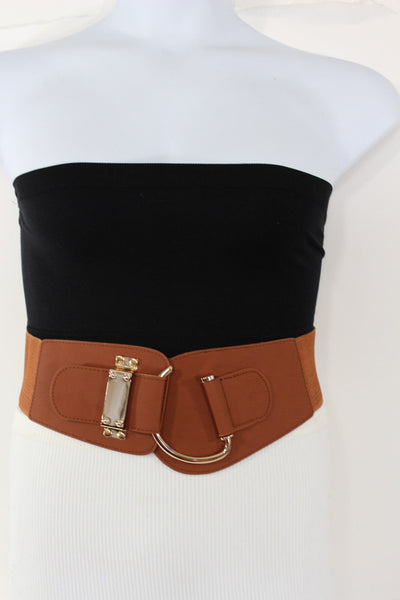 Blue Navy Blue Red White Pink Green Turquize Black Brown Dark Brown Beige Gold Faux Leather Hip Waist Elastic Belt Big Gold Hook Buckle New Women Fashion Accessories Plus Size - alwaystyle4you - 64