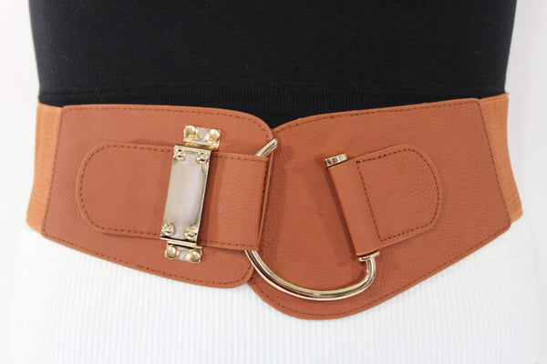 Blue Navy Blue Red White Pink Green Turquize Black Brown Dark Brown Beige Gold Faux Leather Hip Waist Elastic Belt Big Gold Hook Buckle New Women Fashion Accessories Plus Size - alwaystyle4you - 7