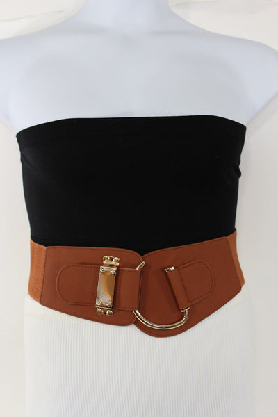 Blue Navy Blue Red White Pink Green Turquize Black Brown Dark Brown Beige Gold Faux Leather Hip Waist Elastic Belt Big Gold Hook Buckle New Women Fashion Accessories Plus Size - alwaystyle4you - 65