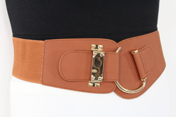 Blue Navy Blue Red White Pink Green Turquize Black Brown Dark Brown Beige Gold Faux Leather Hip Waist Elastic Belt Big Gold Hook Buckle New Women Fashion Accessories Plus Size - alwaystyle4you - 66