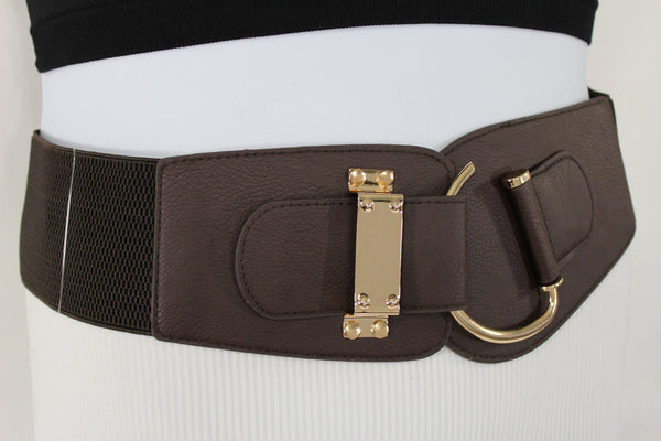 Blue Navy Blue Red White Pink Green Turquize Black Brown Dark Brown Beige Gold Faux Leather Hip Waist Elastic Belt Big Gold Hook Buckle New Women Fashion Accessories Plus Size - alwaystyle4you - 62