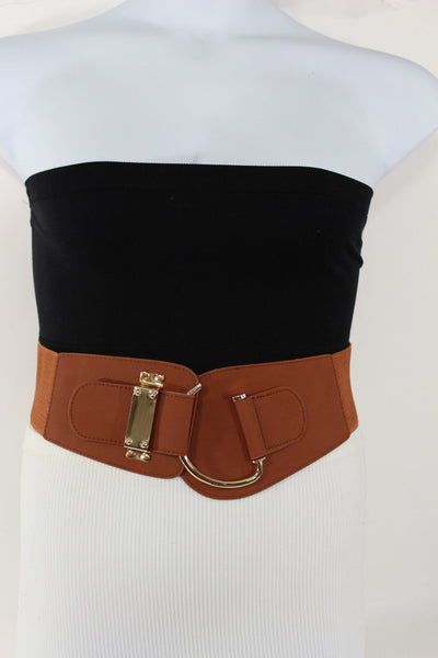 Blue Navy Blue Red White Pink Green Turquize Black Brown Dark Brown Beige Gold Faux Leather Hip Waist Elastic Belt Big Gold Hook Buckle New Women Fashion Accessories Plus Size - alwaystyle4you - 68