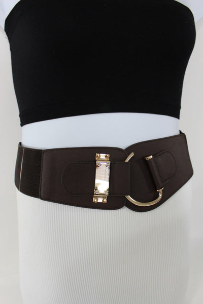 Blue Navy Blue Red White Pink Green Turquize Black Brown Dark Brown Beige Gold Faux Leather Hip Waist Elastic Belt Big Gold Hook Buckle New Women Fashion Accessories Plus Size - alwaystyle4you - 72