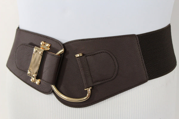 Blue Navy Blue Red White Pink Green Turquize Black Brown Dark Brown Beige Gold Faux Leather Hip Waist Elastic Belt Big Gold Hook Buckle New Women Fashion Accessories Plus Size - alwaystyle4you - 9
