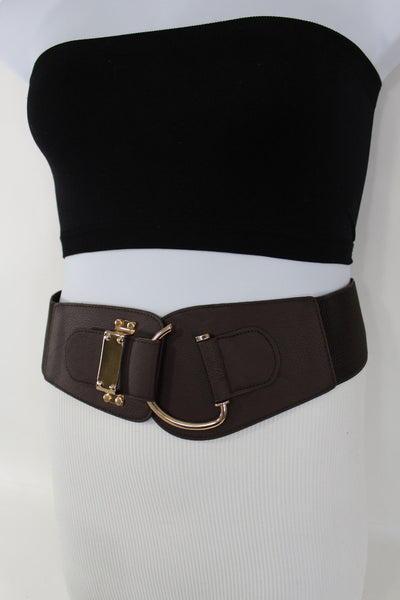 Blue Navy Blue Red White Pink Green Turquize Black Brown Dark Brown Beige Gold Faux Leather Hip Waist Elastic Belt Big Gold Hook Buckle New Women Fashion Accessories Plus Size - alwaystyle4you - 73