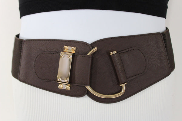 Blue Navy Blue Red White Pink Green Turquize Black Brown Dark Brown Beige Gold Faux Leather Hip Waist Elastic Belt Big Gold Hook Buckle New Women Fashion Accessories Plus Size - alwaystyle4you - 74