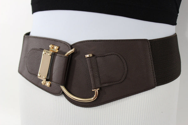 Blue Navy Blue Red White Pink Green Turquize Black Brown Dark Brown Beige Gold Faux Leather Hip Waist Elastic Belt Big Gold Hook Buckle New Women Fashion Accessories Plus Size - alwaystyle4you - 76