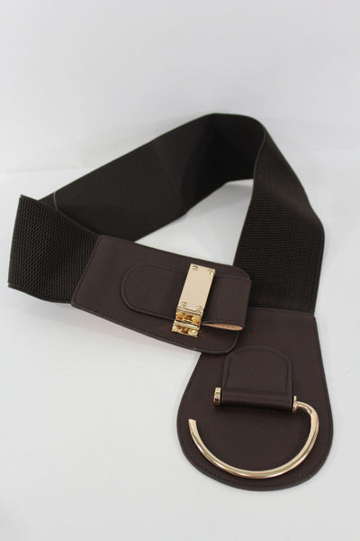 Blue Navy Blue Red White Pink Green Turquize Black Brown Dark Brown Beige Gold Faux Leather Hip Waist Elastic Belt Big Gold Hook Buckle New Women Fashion Accessories Plus Size - alwaystyle4you - 77