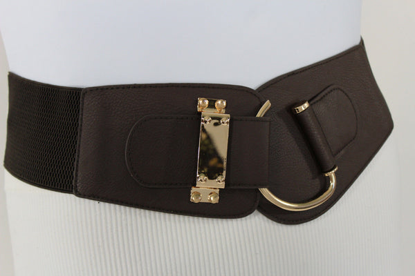 Blue Navy Blue Red White Pink Green Turquize Black Brown Dark Brown Beige Gold Faux Leather Hip Waist Elastic Belt Big Gold Hook Buckle New Women Fashion Accessories Plus Size - alwaystyle4you - 78